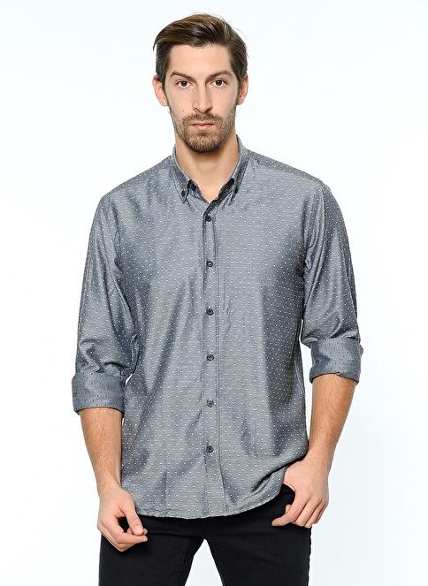 Dewberry Uzun Kollu Slim Fit Gömlek Siyah